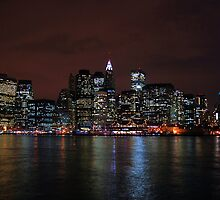 NYC Skyline from Brooklyn at night by Hicksy