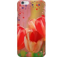 Three colourful tulips on an abstract background iPhone Case/Skin