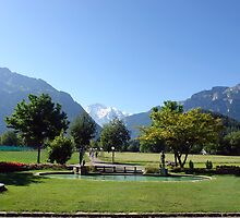 An open field in Interlaken with a view of the mountains in the background by ashishagarwal74