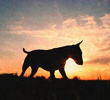 English Bull Terrier against Sunset, Oil Painting Style Print by ArtPrints