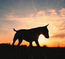 English Bull Terrier against Sunset, Oil Painting Style Print by Michael Tompsett