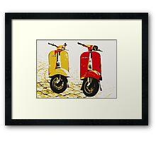 Vespa Scooters on Cobble Street, Pop Art Framed Print