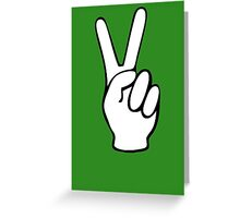 Hand Peace Sign Fingers Greeting Card