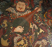 A Painted Wall in Potala Palace Tibet by Louise Levy