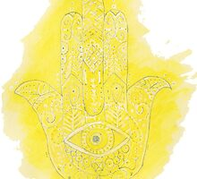 Yellow Watercolor Hamsa Hand by ally1021