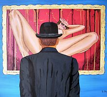 Man with bowler in front of nude by Bela-Manson