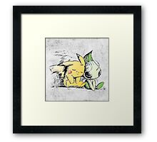 Pokemon 4ever: Pikachu & Celebi Framed Print