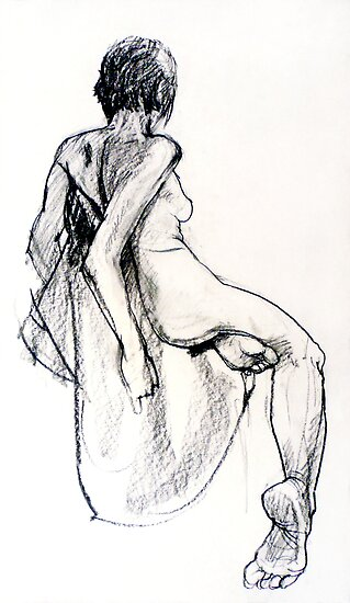 Female nude, charcoal drawing by Roz McQuillan