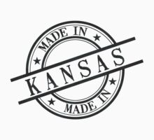 Made In Kansas Stamp Style Logo Symbol Black Kids Clothes