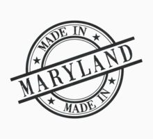 Made In Maryland Stamp Style Logo Symbol Black Kids Clothes