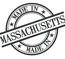Made In Massachusetts Stamp Style Logo Symbol Black by surgedesigns