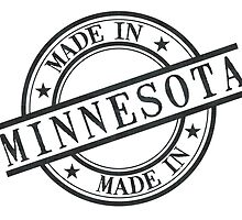 Made In Minnesota Stamp Style Logo Symbol Black by surgedesigns
