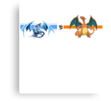 blue eyes white dragon and charizard Canvas Print