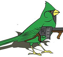 Budgie with a Gun Green by retromoomin