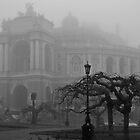 Odessa Opera House in Fog by Bob Burnham