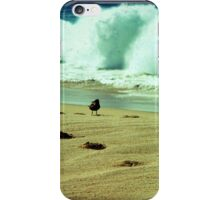 Stormy beach photography print, Los Cabos Mexico travel photography, green ocean waves footprints in the sand TTV iPhone Case/Skin