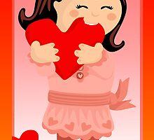 Nibbling Heart Girl Valentine by elledeegee