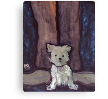 Small Dog Big Feet Canvas Print