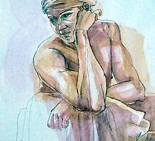 Pensive Boy in a Turban by Roz McQuillan