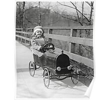 Little Girl Driving Pedal Car, 1922 Poster