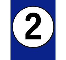 2, Second, Number Two, Number 2, Racing, Two, Competition, on Navy Blue Photographic Print