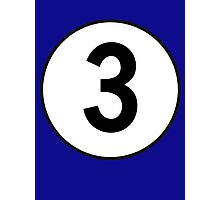 3, Third, Number Three, Number 3, Racing, Three, Competition, on Navy Blue Photographic Print