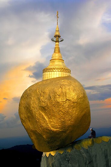 BALANCING ROCK PAGODA - BURMA by Michael Sheridan
