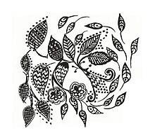 Flowers & Leaves Ornament Drawing by Olesya-Christy