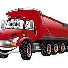 Red  Dump Truck 10w Cartoon by Graphxpro