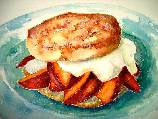 Delicious...Ginger Shortcake with Nectarines and Creme Fraiche by © Janis Zroback