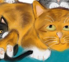Three Kittens Pile on Momma Sticker