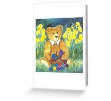 HAPPY EASTER-TEDDYBEAR WITH EGS IN BASKET - Watercolour-Design Greeting Card
