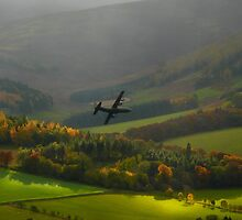 RAF Hercules over the Tweed Valley near Peebles by Ospreywatcher