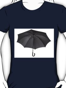 Bottom view at single open black umbrella T-Shirt