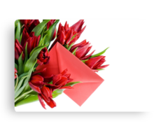 Red envelope in bouquet  Canvas Print