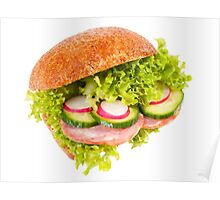 sandwich of graham roll with vegetables Poster