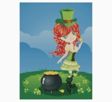 Leprechaun Girl on Grass Field Kids Clothes