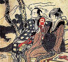 'Traveling Couple' by Katsushika Hokusai (Reproduction) by Roz Abellera Art Gallery