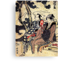 'Traveling Couple' by Katsushika Hokusai (Reproduction) Canvas Print