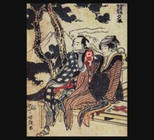 'Traveling Couple' by Katsushika Hokusai (Reproduction) T-Shirt