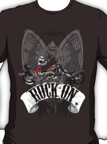 Skulls Rock On Rock Music T-Shirt T-Shirt