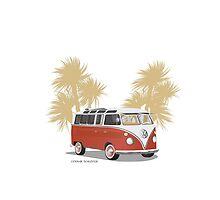 VW Bus 21 Window Red Sand Bkgr by Frank Schuster