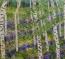 Spring Aspens, impressionism art, lavender flowers, home decor, wall art by artbykatsy