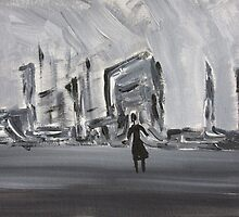 Black and White Abstract Cityscape, Dystopian Art  by ShiningEyeArts