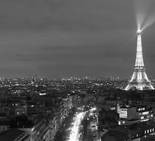 Black & White - Paris at Night by David Watts