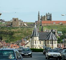 Captain Cook and the Whalebone Arch, from Whitby Abbey by dougie1