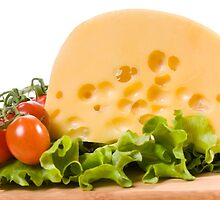 cherry tomatoes and yellow cheese by Arletta Cwalina