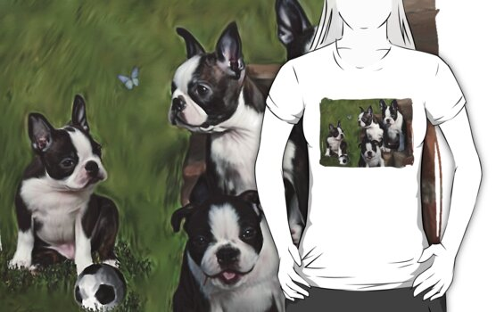 Boston Terrier Puppies... T by Cazzie Cathcart
