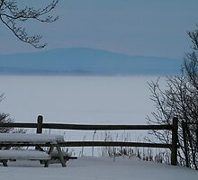 Lake Champlain Winter Scene by Deborah  Benoit