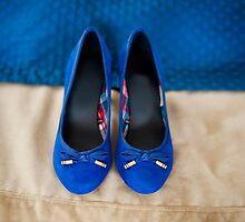 Female elegance bridal blue shoes by Arletta Cwalina